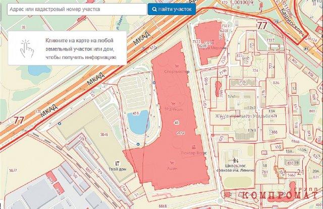 Совхоз имени Ленина и торговый центр «Вегас» на кадастровой карте