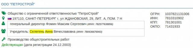 Ранее владелицей «Петростроя» выступала Анна Селегень