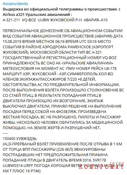 текст телеграммы