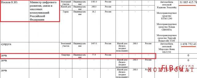 Из декларации о доходах К. Ю. Носкова