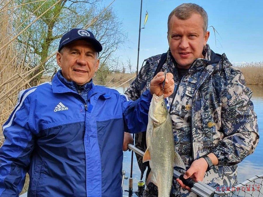 Сергей Морозов на рыбалке с президентом Татарстана Рустамом Миннихановым. Источник Инстаграм