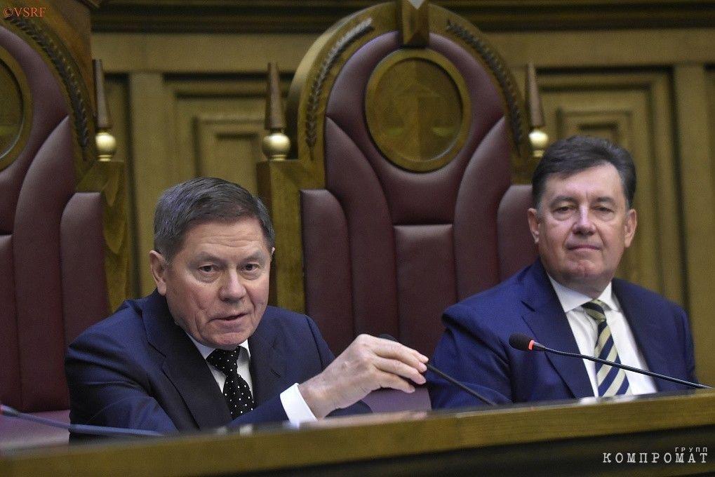 Вячеслав Лебедев c председателем Совета судей Виктором Момотовым