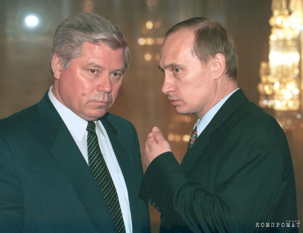 Председатель ВС РФ Вячеслав Лебедев и премьер-министр Владимир Путин во время ежегодного послания президента РФ Бориса Ельцина Федеральному собранию, март 1999