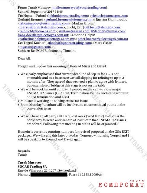 Письмо от Тураба Мусаева, в котором он решает проблемы мальтийской энергетики