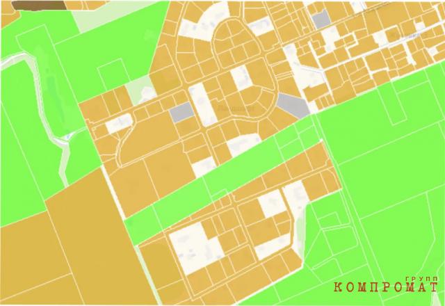 Фрагмент кадастровой карты поселка Жуковка на Рублево-Успенском шоссе. Пробелы — это участки, по которым Росреестр не выдает информацию