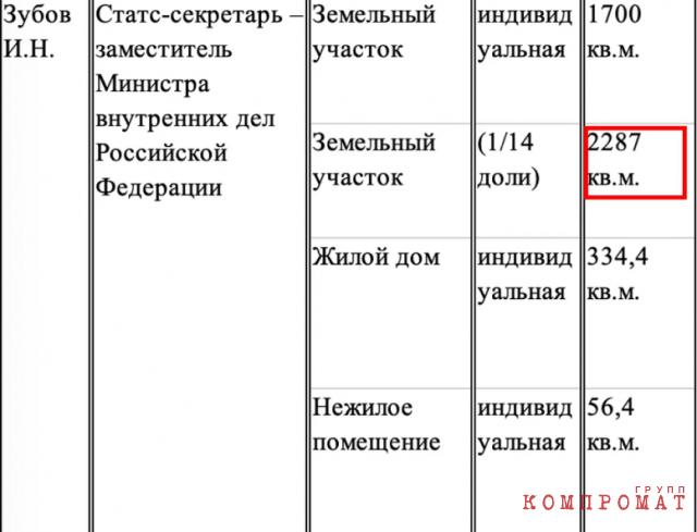 Фрагмент декларации о доходах замглавы МВД Игоря Зубова за 2019-й год