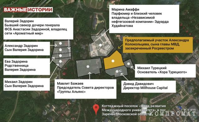 Предполагаемый участок Александра Колокольцева, сына главы МВД Владимира Колокольцева, в Заречье и его соседи.