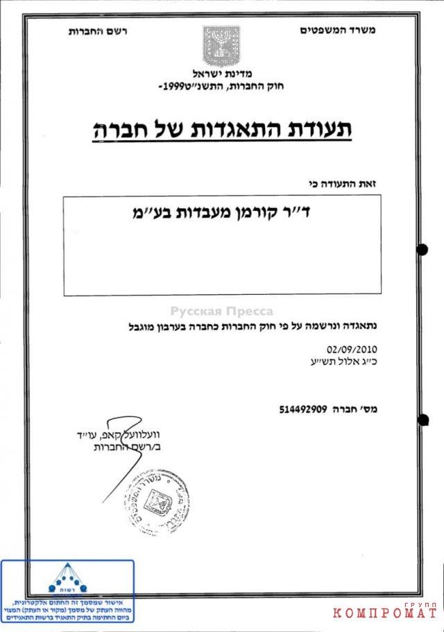 Свидетельство о регистрации компании Dr.Korman Laboratories